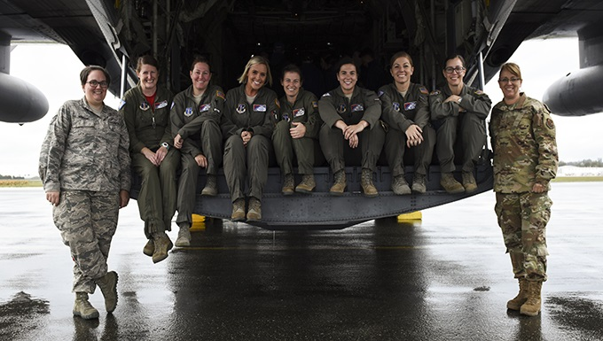 All-female C-130H crew participates in international air show